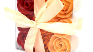3x Set of 9 Soap Flower Box - Peach Roses