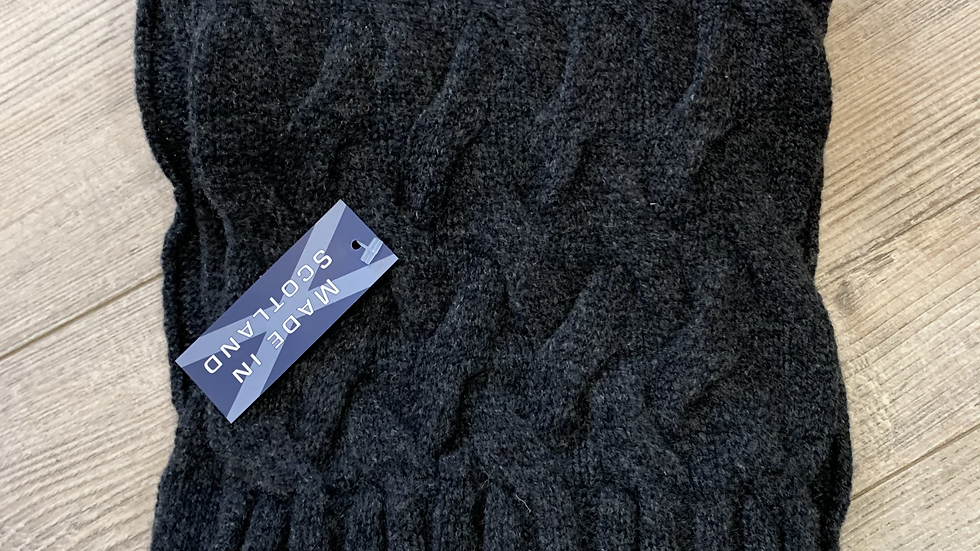 Unisex 100% Wool Scarf - MADE IN SCOTLAND - Charcoal