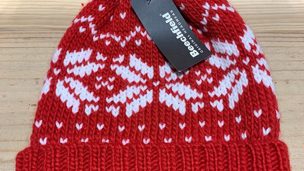 RED FAIRILSE KNITTED BOBBLE HAT