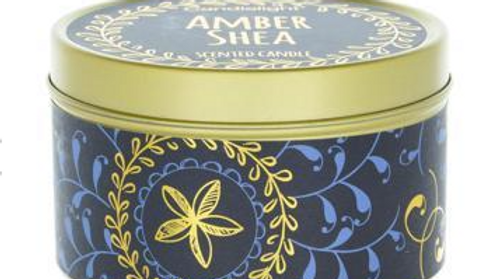 Candlelight Bohemian Small Tin Candle Amber Shea Scent 60g