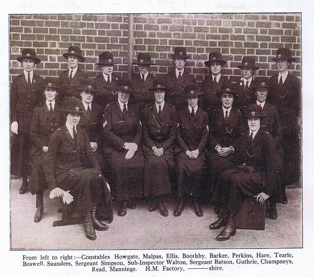 Munitions police c1916 including Katherine Tearle top right