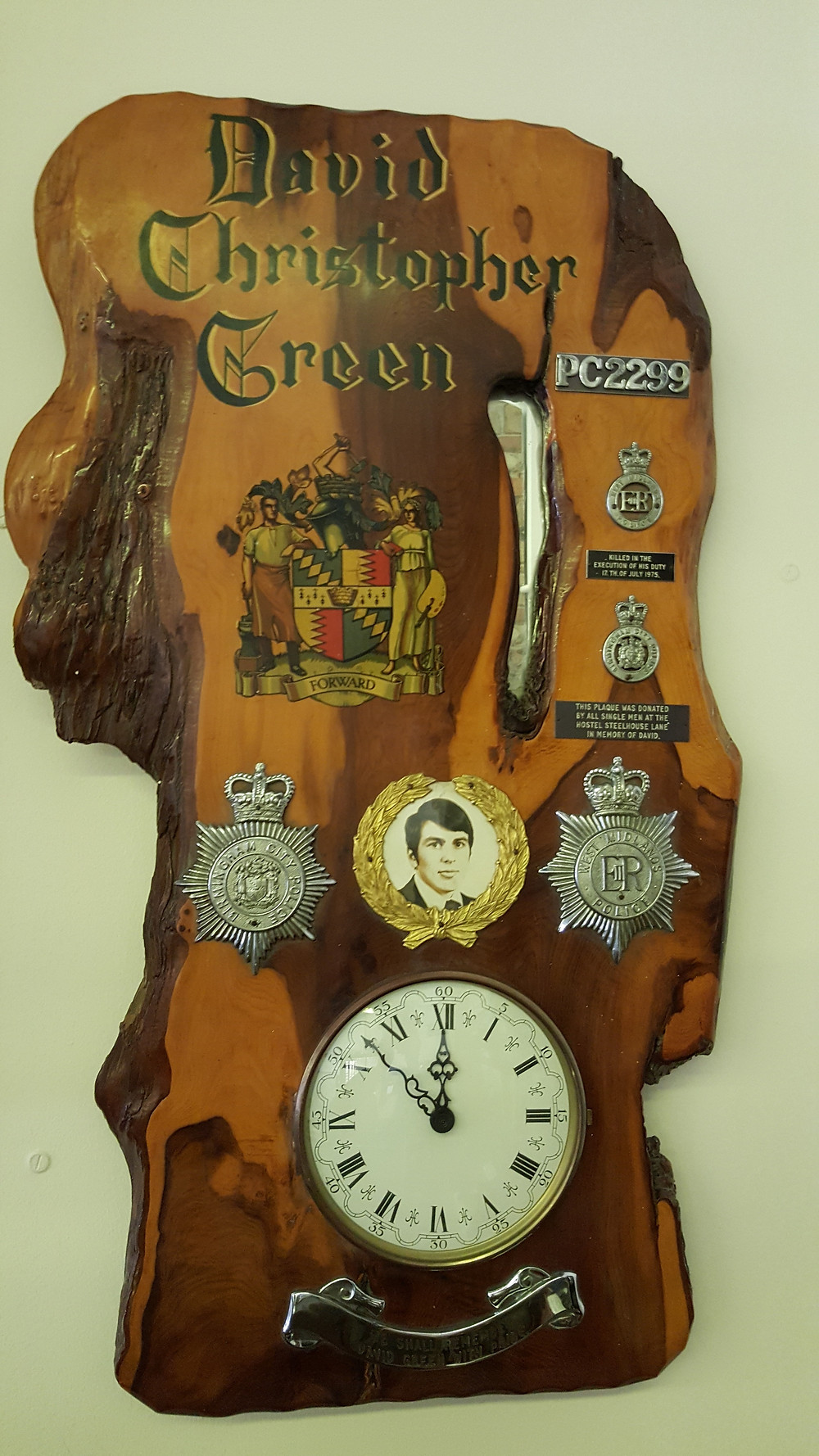 Memorial to PC Green, paid for by his colleagues at the Steelhouse Lane Hostel