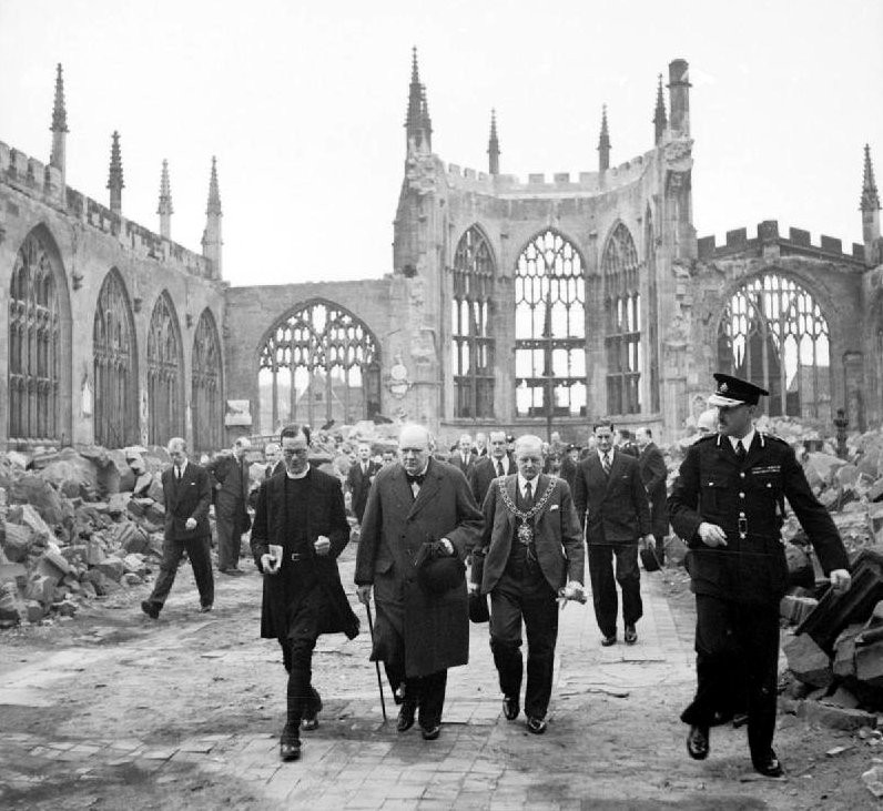 Winston Churchill visits bombed Coventry Cathedral