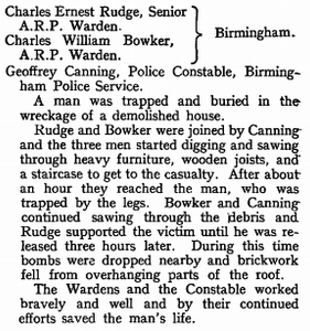 Extract from the London Gazette, 20th June 1941