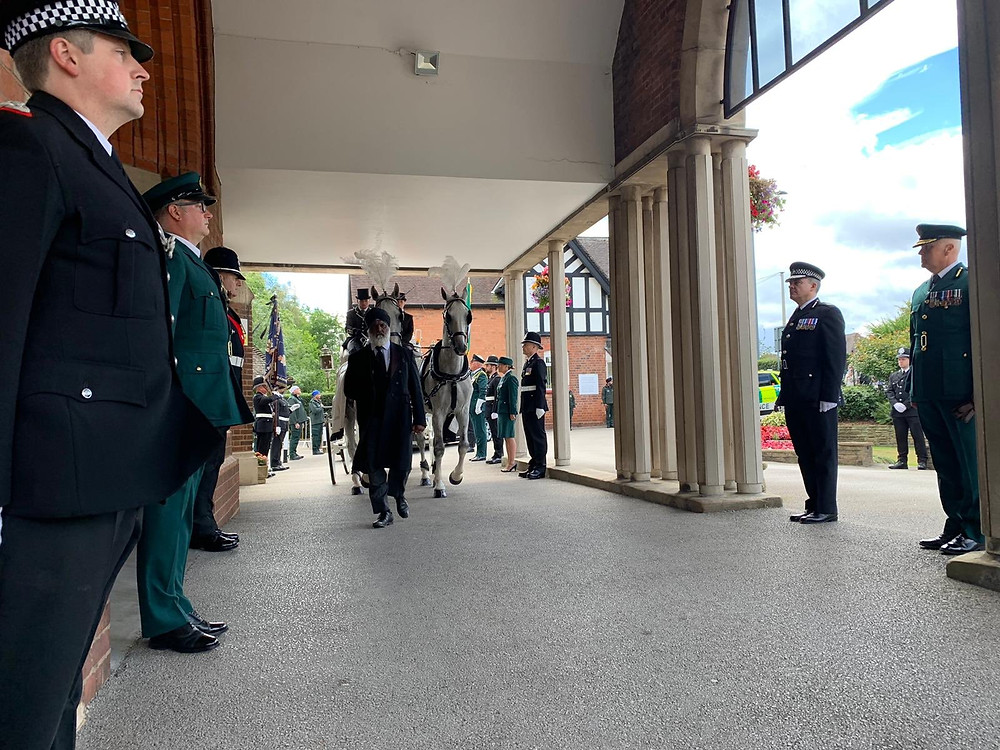 Guard of honour formed by police and ambulance colleagues, courtesy of West Midlands Ambulance Service