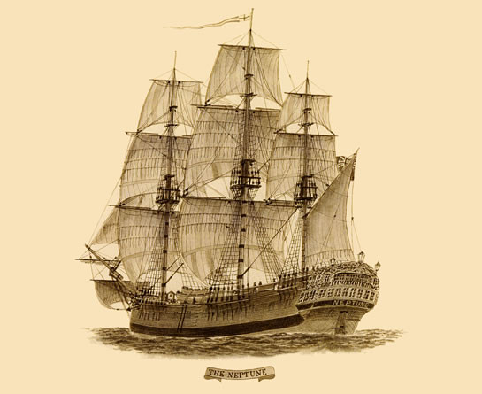 An example of a convict ship - pictured here is the Neptune