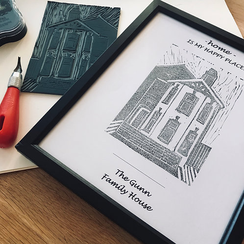 Linocut House Print Workshop