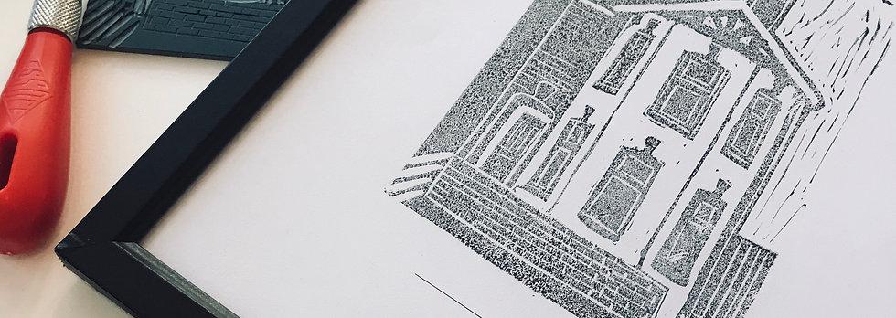 Personalised Linocut Home Print