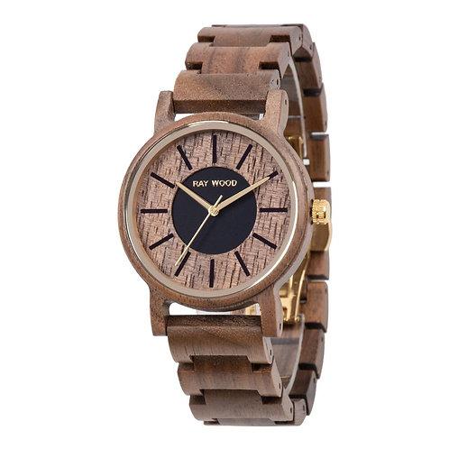 Star walnut wood watch