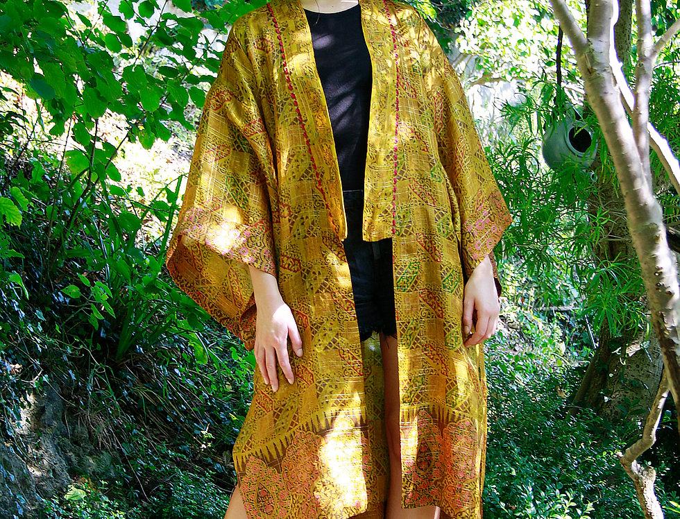 Gold Thread Block Print Kimono