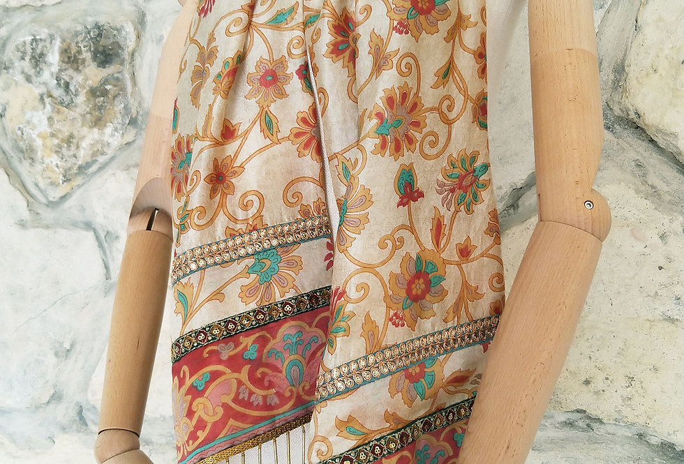 Pink and Cream Floral Print Scarf