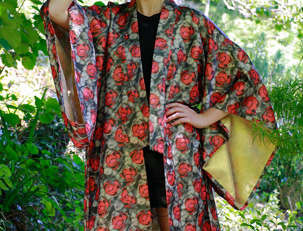 Dark Rose Print Kimono