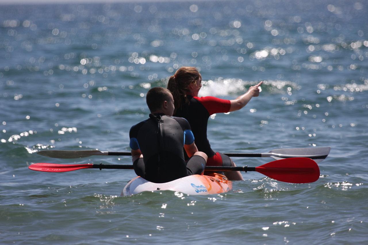 Canoeing on Bigbury Beach