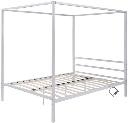 White Modern 4-Poster Bed Frame | Double 4ft 6