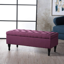 Fuschia Fabric Storage Ottoman
