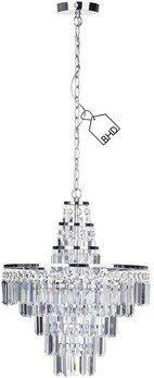 Large Crystal Chandelier | Bathroom IP44 Rated | Height: 85 cm Width: 47 cm