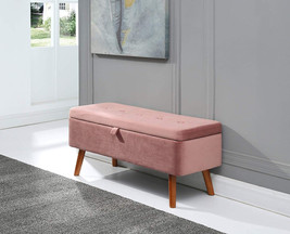 Blush Pink Fabric Velvet Storage Ottoman