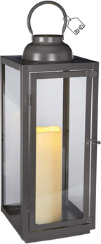 Large Candle Lantern in Grey Metal | LED Battery with Timer | (H) 50.5cm x (W) 18 x (D)18cm