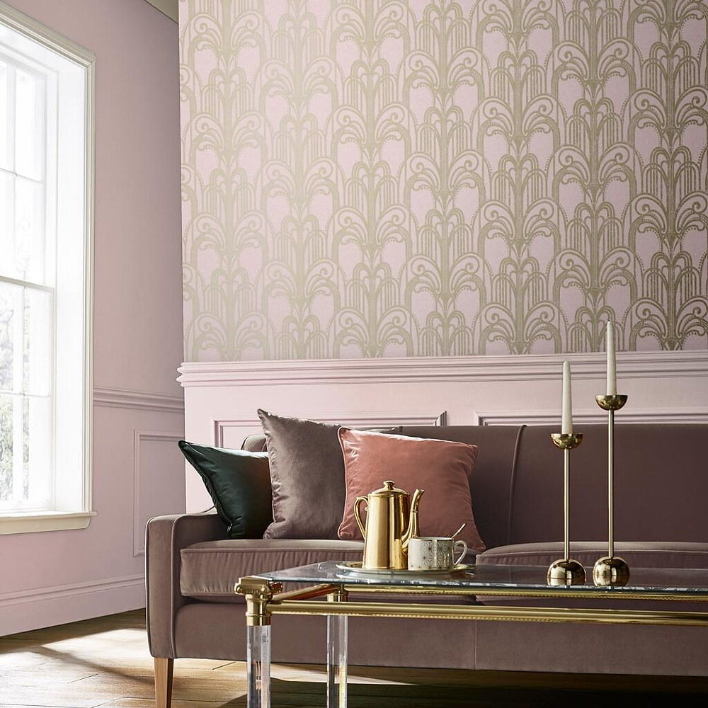 Blush Art Deco Wallpaper by Graham & Brown