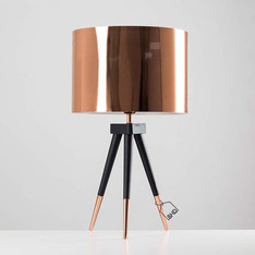 Dark Wood and Copper Tripod Table Lamp with Copper Shade & Bulb
