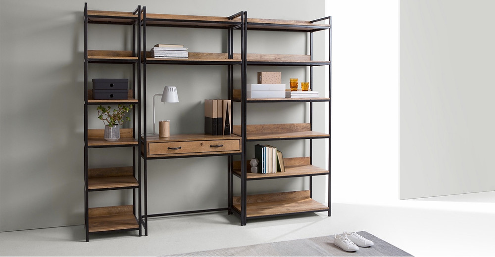 Lomond Modular functional desk, Mango Wood and Black | £379