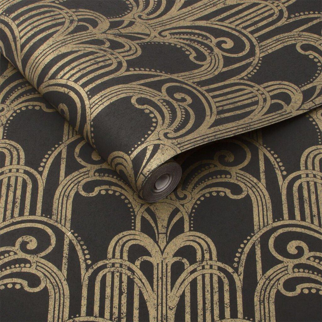 Black & Gold Art Deco Wallpaper by Graham & Brown