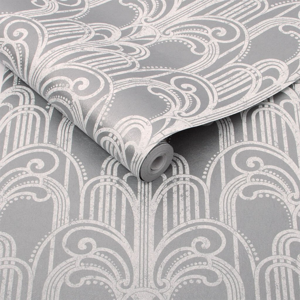 Silver Art Deco Wallpaper by Graham & Brown
