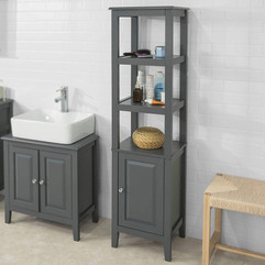 Tall Grey Floor Standing Bathroom Storage Cabinet
