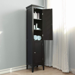 Brown Free Standing Tall Bathroom Storage Cabinet Unit