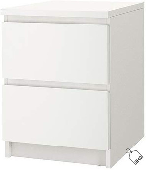 IKEA MALM | Chest of 2 drawers | white | 40x55 cm |