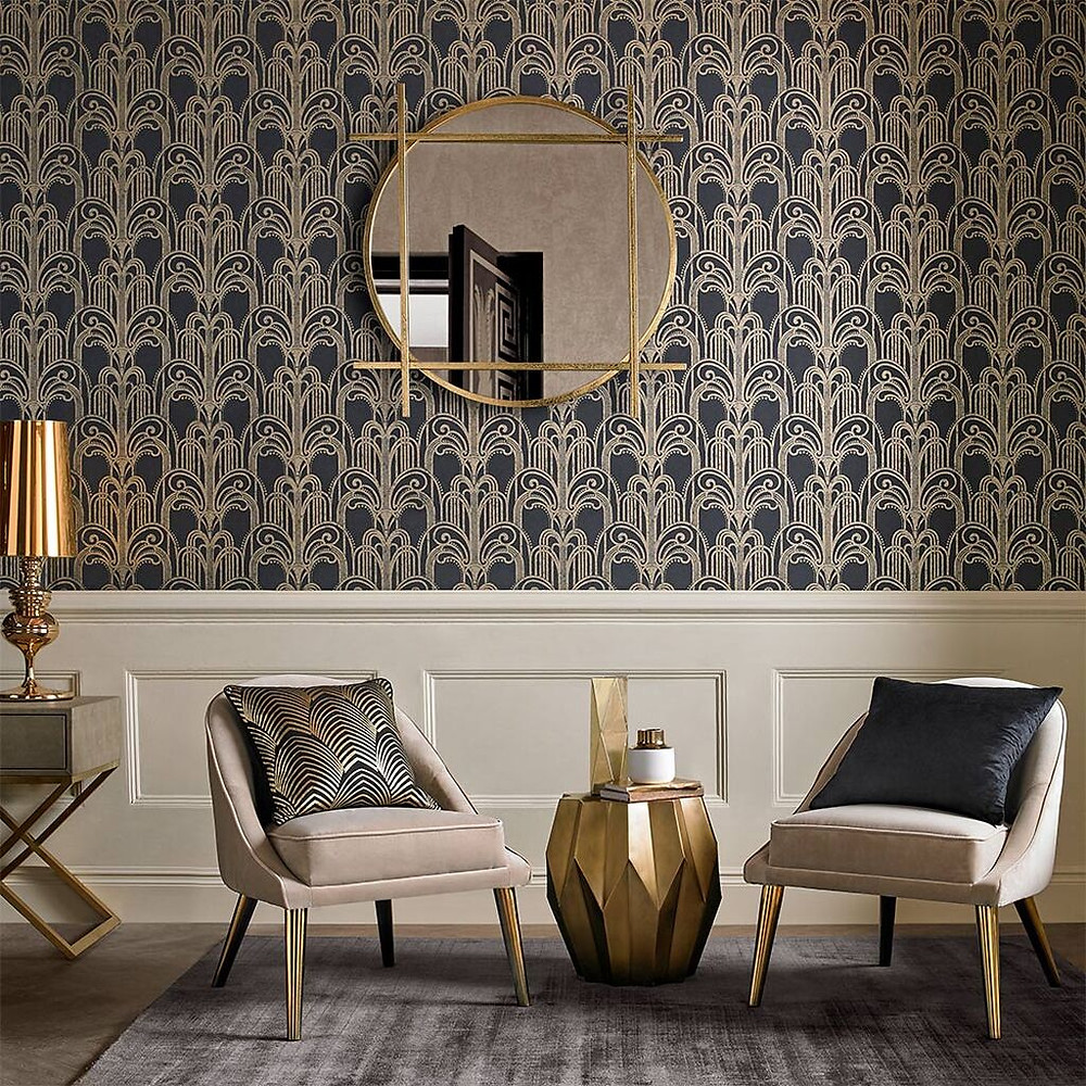 Black & Gold Art Deco Wallpaper by Graham & Brown