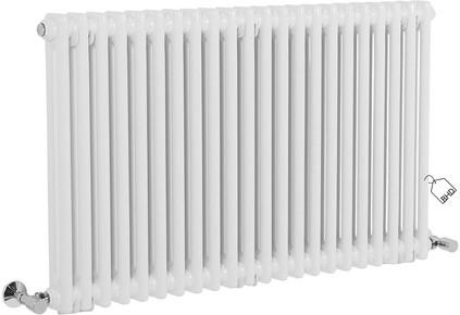 Traditional Cast Iron Style White Double Column Horizontal Radiator   600 x 1010 mm