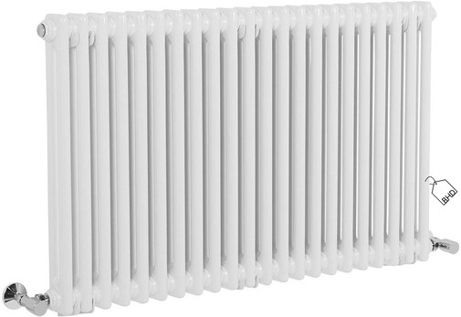 Traditional Cast Iron Style White Double Column Horizontal Radiator | 600 x 1010 mm