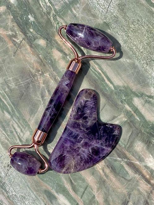 Amethyst Crystal Face Roller & Gua Shua