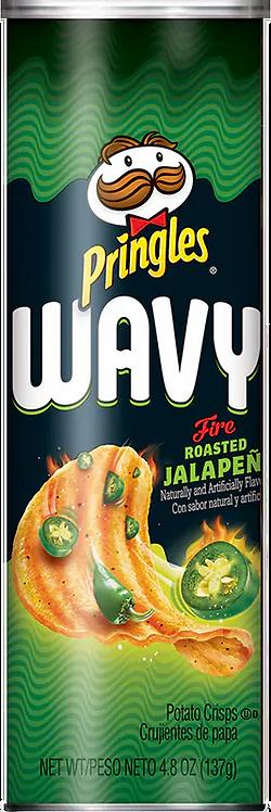 Pringles Wavy Fire Roasted Jalapeño Lata 137gr