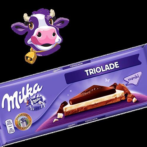 Milka Triolade - Chocolate ao Leite + Chocolate Branco + Chocolate Meio Amargo