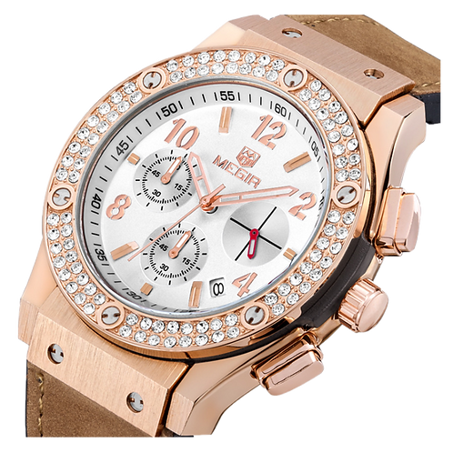 Relógio Feminino Megir 2034 Nobuck