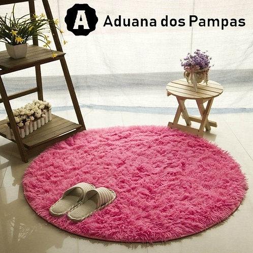 Tapete Shaggy Redondo Rosa Pink
