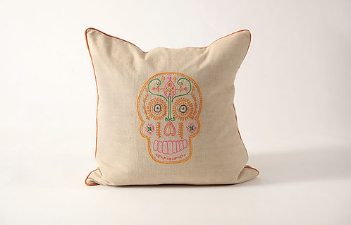 Embroidered Skull Pillow