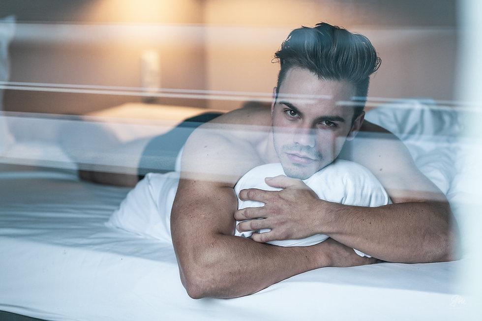Male portrait, boudoir, hotel room, underwear photography