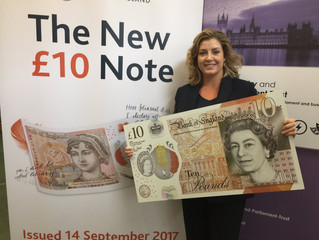 PENNY MORDAUNT MP GETS PREVIEW OF THE NEW £10 NOTE FEATURING JANE AUSTEN