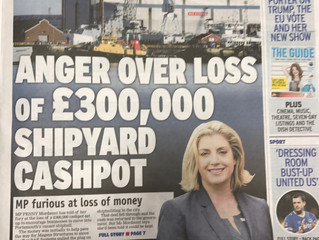 Article: Anger over loss of £300,000 shipyard cashpot.