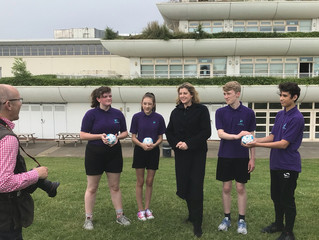 Penny Mordaunt MP and Admiral Lord Nelson school support Soccer Aid.