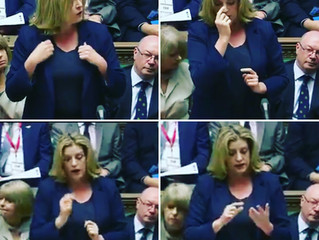 Penny Mordaunt MP makes history, signing at the dispatch box in the House of Commons.