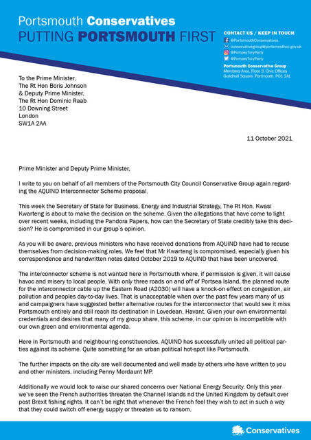 Portsmouth Conservative Group call on Prime Minister to intervene on AQUIND proposal