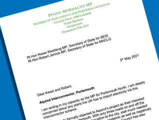 Penny Mordaunt MP calls for halt to interconnecter scheme