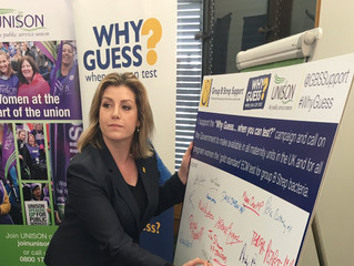 Penny Mordaunt MP the #WhyGuess campaign to make the gold standard test for Group B Strep available