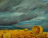 Ciel d'orage sur les pailles