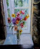 Un bouquet à la fenêtre