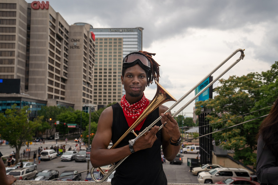 Eryk, known on Instagram as the Trapbonebandit, has worked to change the panhandling laws in Georgia, as he has been incorrectly arrested 20+ for playing his trombone legally around the city